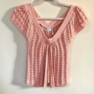 Guess peach short sleeve single button sweater - S